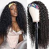 Tmbitto Pelucas De Pelo Humano Rizado Curly Human Hair Wigs For Black Women 100% Curly No Lace Human Hair Headband Wigs Natural Black Color 14 Inch 150% Density