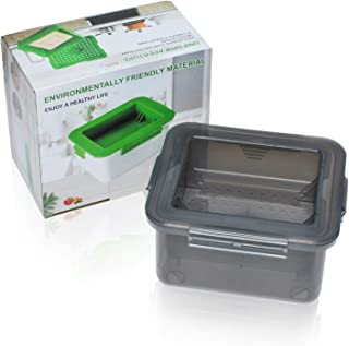 Tofu Press, Easily Remove Water from Tofu for Better Taste, Water Draining, Dishwasher Safe, Tofu Tub Dimension 6.6x5.7x3.3 Inch by Poweka (Grey)