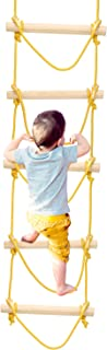 PACEARTH Climbing Rope Ladder for Kids Adults Playground Sturdy Wood Hanging Tree Ladder for Indoor Outdoor, Tree House, Play Set, Climbing Game