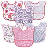 6 Pack Adjustable Waterproof Baby Bibs with Food Catcher Pocket - Pocket Bibs with Snaps for Babies, Toddlers, Infants