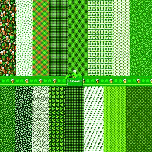 Sayala 18 piezas de tela para decoración del día de San Patricio, tréboles irlandeses de Irlanda, para tapicería, decoración del hogar