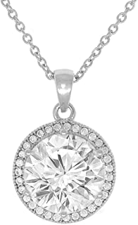Mariah 18k Gold Plated Round Cut CZ Halo Pendant Necklace - Cubic Zirconia Halo Cluster Necklace w/Solitaire Round Cut Crystal - Wedding Anniversary Jewelry