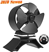 Sonyabecca 4 Blade Fireplace Fan Wood Stove Fan Heated Powered Stove Fan with Magnetic Thermometer