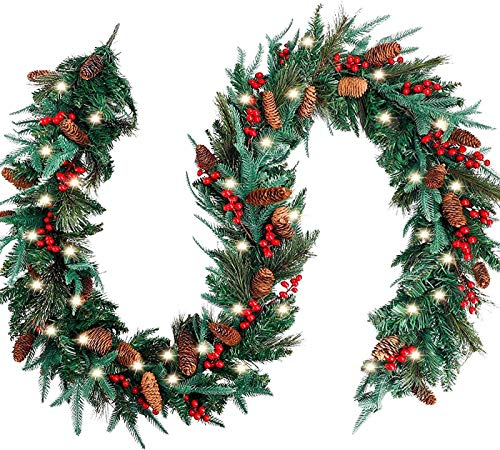Mnjin Christmas Garland 9 feet x 12 inches is used in the Christmas wreath of the mantle, with 50 lamps, no prediction, for Christmas and pine crackers for winter holiday home decoration