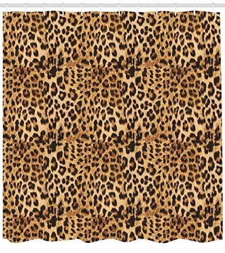 ABAKUHAUS Braun Duschvorhang, Afrikanischer Leopard Druck, Waschbar & Leicht zu pflegen mit 12 Haken Hochwertiger Druck Farbfest Langhaltig, 175 x 220 cm, Braun