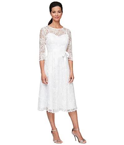 Alex Evenings Midi Length Embroidered A-Line Dress with Tie Belt