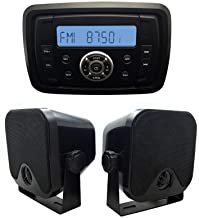 Herdio Marine Stereo Receiver Speaker Kit - in-Dash LCD Digital Console Built-in Stereo Sound System + 4 Inches Marine Surface Mount Box Speakers(Black)