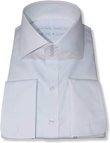 Camisa de cuello alto para hombre, color blanco, 4 botones ...