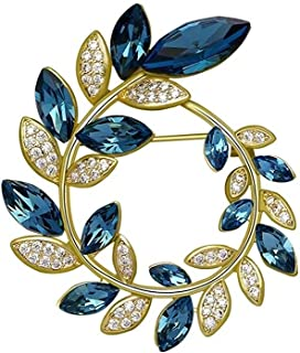 Adesign Coffre d'olive haut de gamme, broche de feuille de zircon, bijoux de mode Accessoires de vêtements, élégance broch...