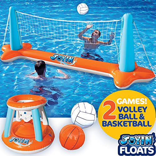 Inflatable Pool Float Set Volleyball Net & Basketball Hoops; Balls