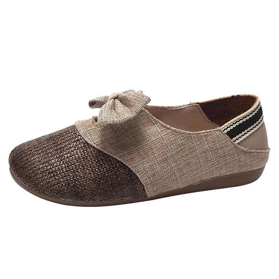 天文学る気になる[HUYB] レディース シューズ ウォーキング 可愛い靴 フラットボトム 麻 ボウタイ 女性 靴 編んだ シンプル 旅行