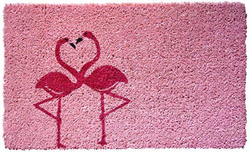 Entryways–Felpudo (Fibra de Coco con Parte Trasera de PVC Antideslizante Felpudo de flamencos, Rosa, 40x 60cm
