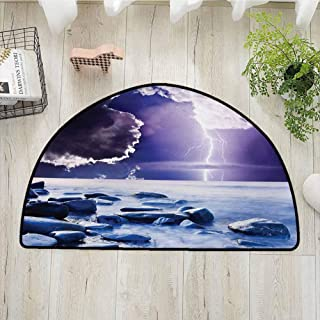 Xlcsomf Flexible Half Round Door mat Nature Easy to Care Dark Ominous Rain Clouds with Mystic Sky Scenery with Electrical Thunder Photo,W31 x L47 Blue Purple