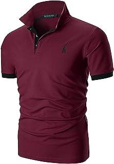YCUEUST Polo para Hombre Manga Cortas Bordado Contrast Collar Golf Camiseta