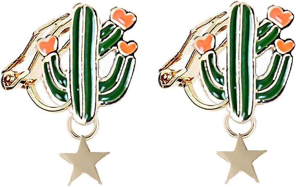 Clip on Earrings Cactus Drop Dangle Earring Heart Star Green Enamel Women Girls Gold Plated Rubber Pads