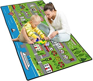 LISIBOOO Kids Rug Street Map Play Mat, Theme Park Educational Baby Area Rugs, City Life Cars Roads Child Large Carpet, for Playroom Nursery Bedroom Living Room Classroom (23''x 35'', Riverbank Park)