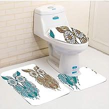 Three-Piece Toilet seat pad customOwls Dreamcatcher Style Owl Tribal Ethnic Features Magic Farsighted Birds Artsy Print Cr...