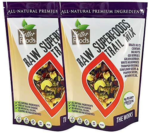 Raw Superfoods Trail Mix - The Works (Goji Berries, Golden Berries, Mulberries, Raisins, Brazil Nuts, Cashews, Walnuts, Pumpkin and Sunflower Seeds) - 2 Pack (2x 24 oz)