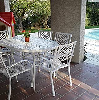 Lazy Susan - June 150 x 95 cm Ovaler Gartentisch mit 6 Stühlen - Gartenmöbel Set aus Metall, Weiß (Kate Stühle)