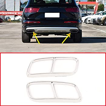 YIWANG Stainless Steel Exterior Accessories Exhaust Tailpipe Decoration Frame Cover Trims 2Pcs For A6 A7 C7 2016-2018 Auto Accessories