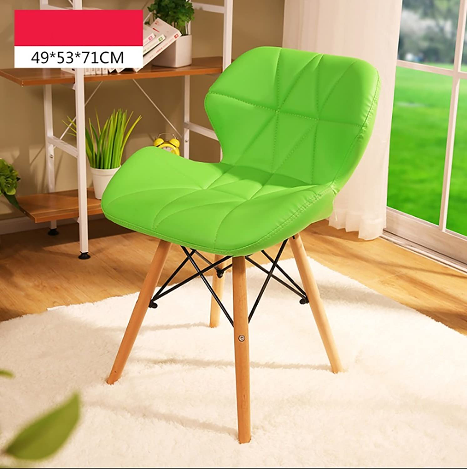 Easy to Clean PU Leather Casual Meeting Chair Fashion Upholstery Backrest Chair Environmental Predection raw Material Solid Wood Foot Computer Chair Size  495371cm (color   Green)