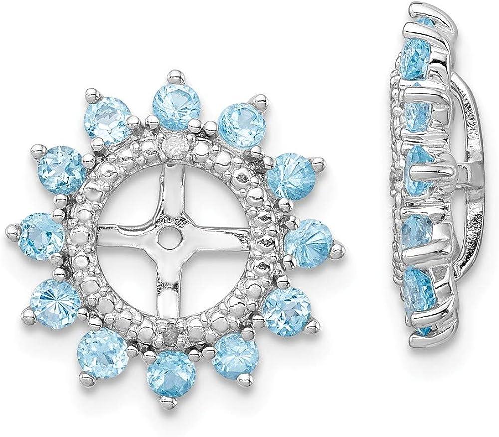 925 Sterling Silver Diamond Swiss Boston Mall Jacket Max 44% OFF Topaz Earrings Blue Bir