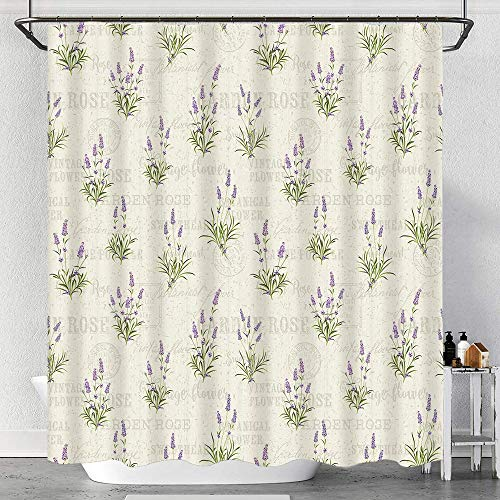 waterproof Shower Curtain,Vintage Grunge Pattern with Bunch of Herbal Blossoms Faded Retro Texts,Fabric Bath Curtains with Hooks