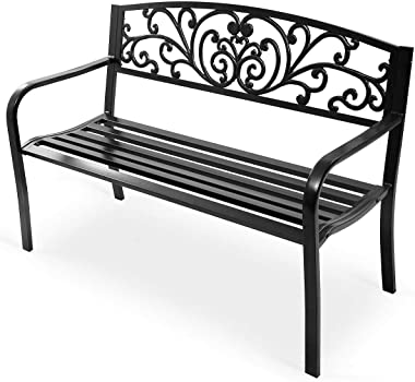 500 Lb Heavy Duty & Durable 2-3 People Comfortable Seat Patio Garden Bench Park Yard Outdoor Furniture Solid Anti-Rust Steel