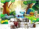 Mznmcustom Mural 3D Photo Wallpaper Cartoon Fantasy Forest River Children House Rainforest 3D Wall Murals Wallpaper For Walls 3 D-350X250Cm