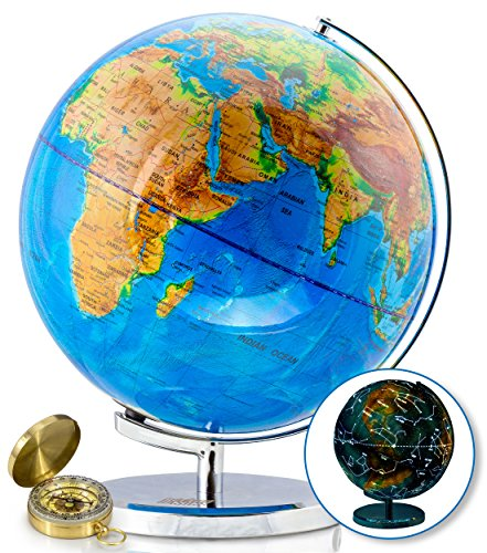 "World Globe with Illuminated Constellations – 13"" Light Up Globe for Kids & Adults – Interactive Earth Globe Makes Great Educational Toys, Office Supplies, Teacher Desk Décor, More by Get Life Basics"