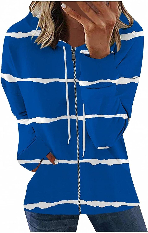 Jaqqra Hoodies for Women, Womens Casual Striped Printing Zip Sweatshirt Jacket Long Sleeve Pullover Tops Blouse Coat