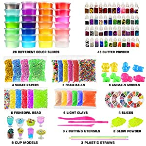 126 Pcs DIY Slime Making Kit for Girls Boys – Birthday Idea for Kids Age 5+. Ultimate Fluffy Slime Supplies Include 28 Crystal Slime, 2 Glow in The Dark Powder, 48 Bottle Glitter Jar etc.