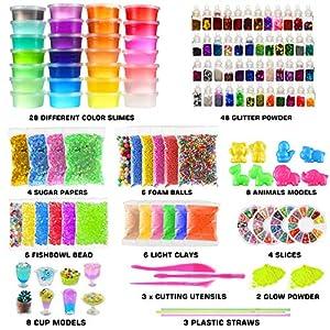 Byonebye 126 Pcs DIY Slime Making Kit for Girls Boys – Birthday Idea for Kids Age 5+. Ultimate Fluffy Slime Supplies Include 28 Crystal Slime, 2 Glow in The Dark Powder, 48 Bottle Glitter Jar etc.
