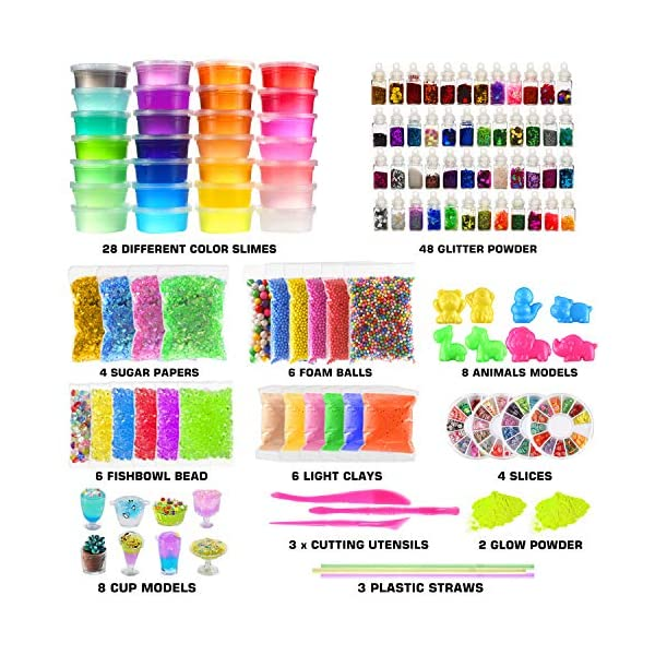 Byonebye 126 Pcs DIY Slime Making Kit for Girls Boys - Birthday Idea for Kids Age 5+. Ultimate Fluffy Slime Supplies… 4