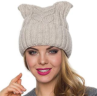 ALLDECOR Women`s March Puccy Cat Beanie Handmade Knitted Rose Winter Warm  Hat e9f2ec25f298
