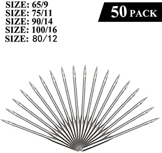 Sewing Machine Needles, 50 Count, Universal Regular Point for Singer, Brother, Janome, Varmax, Sizes 65/9, 75/11, 80/12, 90/14, 100/16 (50 Pack)