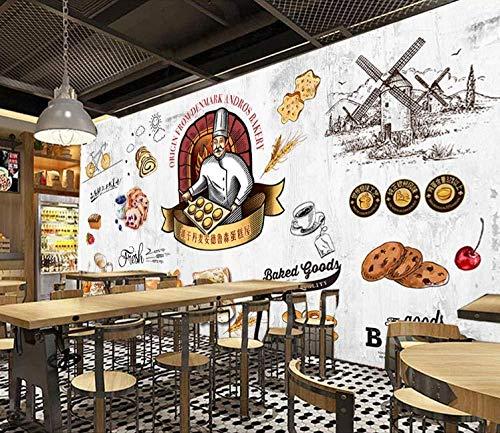 Fotos Benutzerdefinierte Hintergrund 3D Wandbild Retro European Dining Gourmet Brot Milchtee Freizeit Hintergrund Wand Home Decoration Wallpaper Plakat-300X210Cm