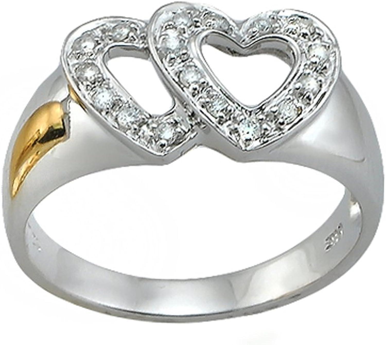 Diamond Ring, 14K White gold Diamond Heart Ring