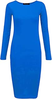 Islander Fashions Womens Llanura Manga Larga Stretch Midi Vestido Ladies Bodycon Jersey Maxi Dress S / 3XL