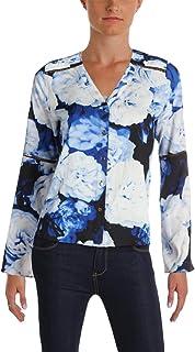d58f7cc4 Calvin Klein Womens Petites Floral Print Bell Sleeves Button-Down Top