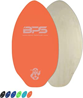 BPS 'Shaka' Skimboards with Colored EVA Grip Pad and High Gloss Clear Coat | Wooden Skim Board with Grip Pad for Kids and Adults | Choose from 3 Sizes and Traction Pad Color