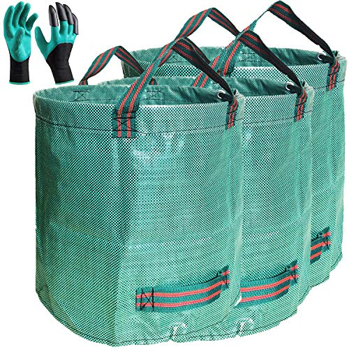 Standard 3-Pack 32 Gallons Garden Yard Bags (D18, H30 inches) with Coated Gardening Gloves Reusable Leaf Bags Standable Gardening Plant Trimming Bags Trash Containers Lawn Yard Waste Bags 4 Handles
