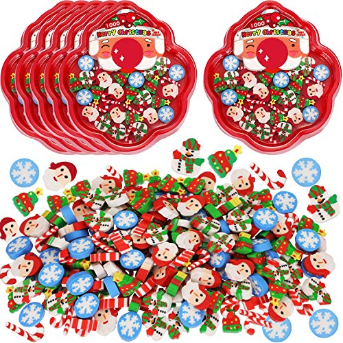 Outus 210 Pieces Christmas Pencil Erasers Cute Cartoon Christmas Eraser Holiday Erasers for Party Favor Kids Gifts
