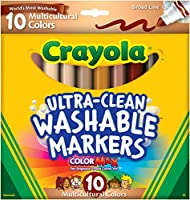 (1-Pack of 10) - Crayola Ultraclean BL Multicultural Markers