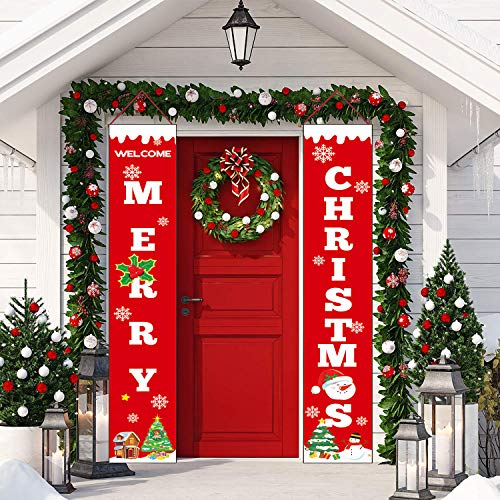 Sayala Decorazioni di Natale Outdoor Indoor - 2 Pezzi di Benvenuto Buon Natale Portico Segno Banner Door - Benvenuto Decorazioni per Porta di Natale Decor (Rosso)