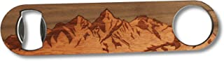 WUDN Solid Steel & Real Wood Professional Bottle Opener, Sawtooth Mountains