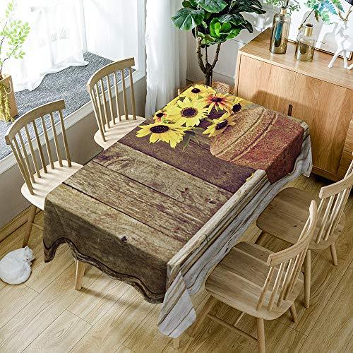 JKRFV Tovaglia Rettangolare Vintage Giallo e girasole Tovaglia Antimacchia per Tavolo Rettangolare Decorazioni Cucina Lino Cotone Lavabile 140cmx240cm