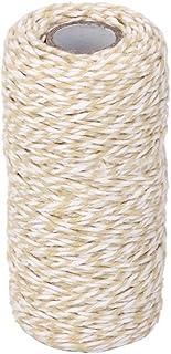 outflower 100 m Wrap Geschenk Baumwolle Seil Band Twine Rope Kordel dunkelblau, beige, 1,5 mm