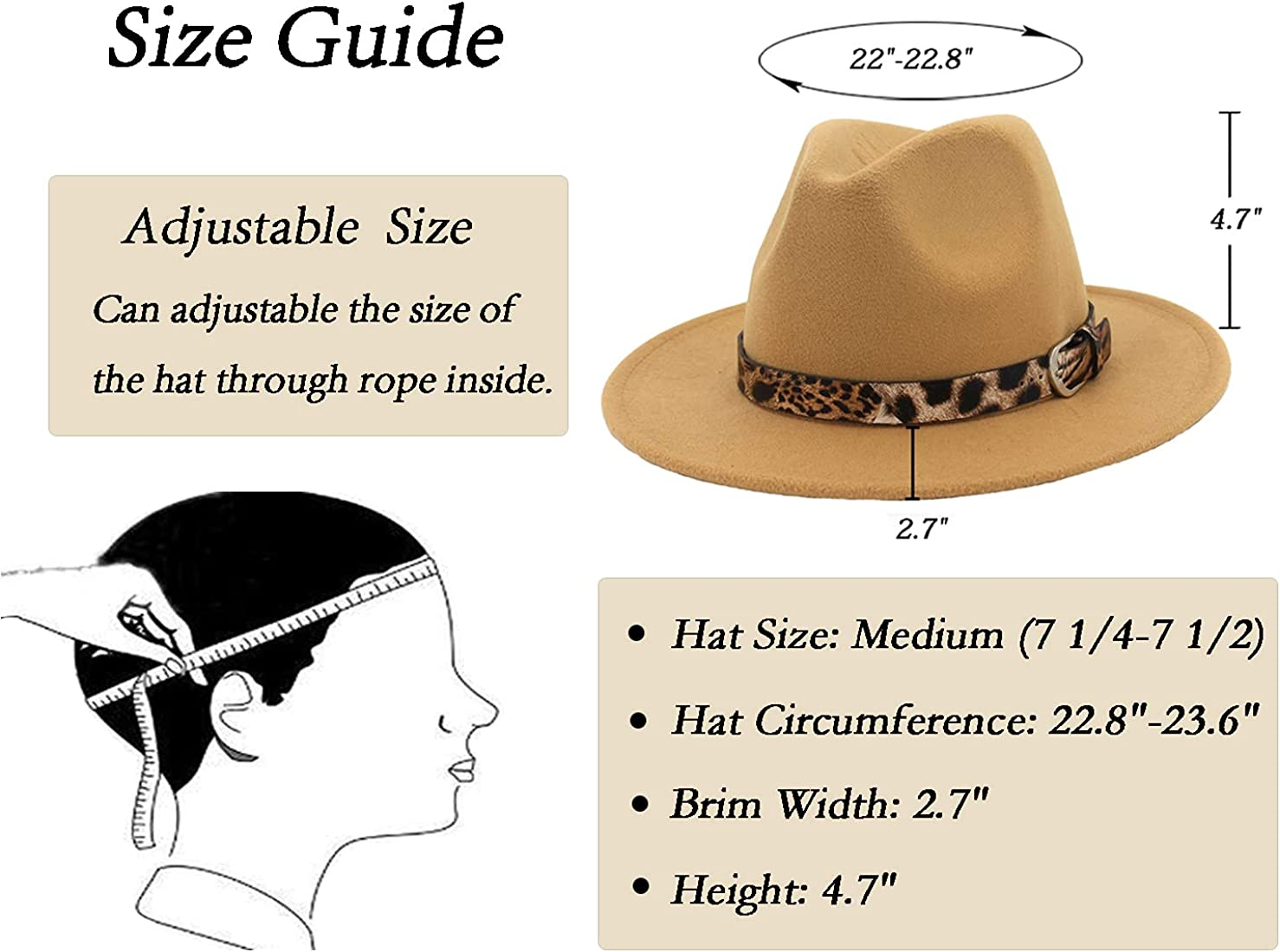 Eohak Womens Belt-Buckle-Panama-Hat Wool Womens Wide Brim Fedora Hat (Hat Clrcumference 22.8