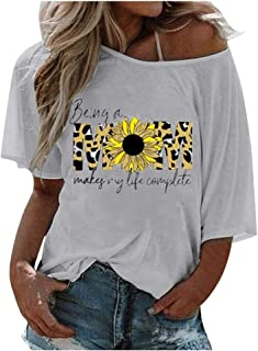 FEISI22 Women`s Short Sleeve V-Neck Shirts Loose T-Shirt Gradient Color Sunflower T-Shirt Casual Tunic Blouse Tops